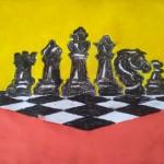 Орехова Яна, 5 лет, детский сад Ромашка. Шахматная партия. Восковые мелки